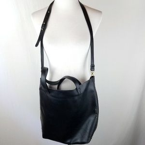 American Eagle Black Faux Leather Studded Tote Bag